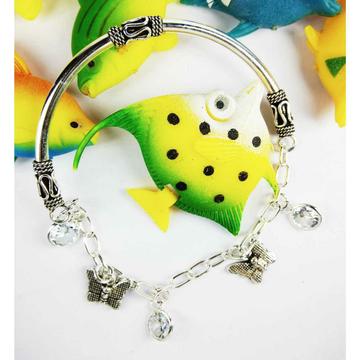 Fancy 925 Silver Ladies Charm Kada Bracelet