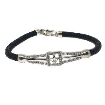 925 Sterling Silver Leather Belt Bracelet MGA - KRS0091
