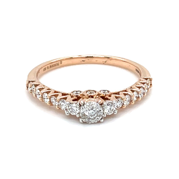 Shared Prong Single Line Band Ring in 18k Rose Gol...