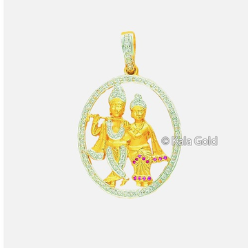 916 Gold Religious CZ Radha Krishna Design Pendant