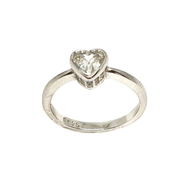 925 Sterling Silver Heart Shape Solitaire Diamond Ring MGA - LRS3363