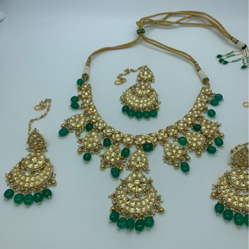 Green Stone With Kundan Bridal Necklace Set by