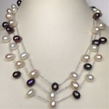 Freshwater White and Black Drop Pearls 3 Layers Silver Thread Necklace
