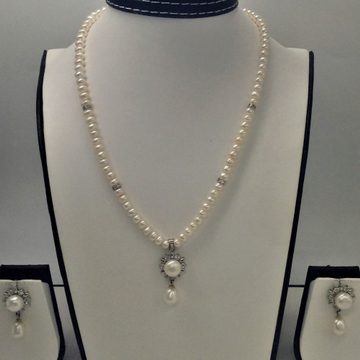 White cz and pearls pendent set with flat pearls m...