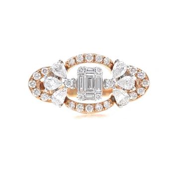 18kt / 750 rose gold fancy daily wear diamond ladies ring 9lr159