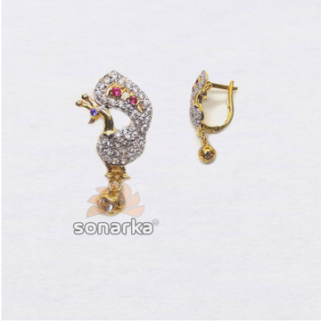 916 Gold Fancy Peacock Shape CZ Diamond Hoop Earring