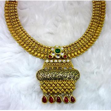 gold hallmark antique jadtar rounded necklace set