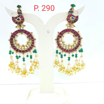 Peacock design pink stone with hanging moti long earring 1623