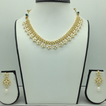 Freshwater White Button Pearls Necklace Set JNC0111