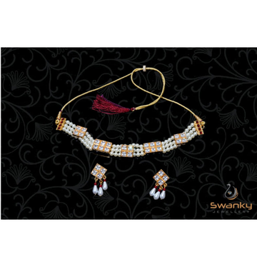 Attractive white pearl moti set with glass beads by Swanky Jewellery
