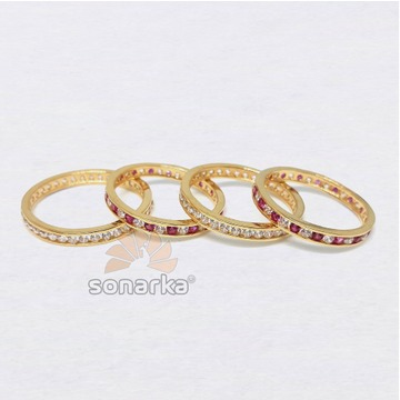 22k CZ Stone Gold Bands Light Weight For Womens