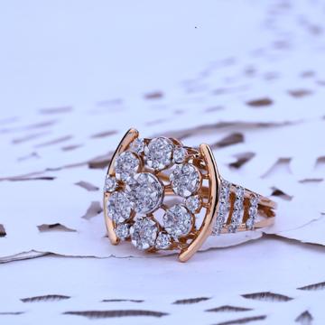 Ladies Rose Gold Designer 18k Cz Ring-RLR185