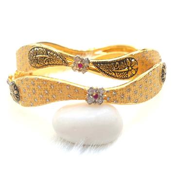 22k Gold CZ Diamond Fancy Designer Copper Kadli Bangles MGA - GK024