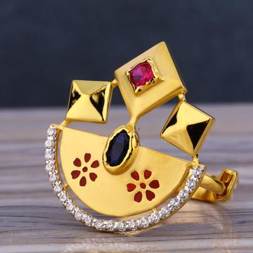 916 Gold Ladies Hallmark Fancy Long Ring LLR233