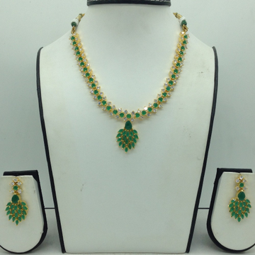 Green And White CZ Stones Necklace Set JNC0160