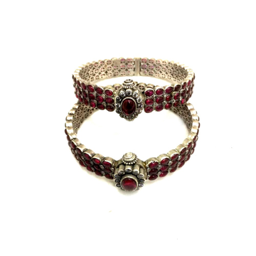 925 Silver Antique Pink Stone Kada