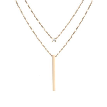 18kt Rose Gold chains adjoining one with small diamond and another with long slim plate For Women Jkc009