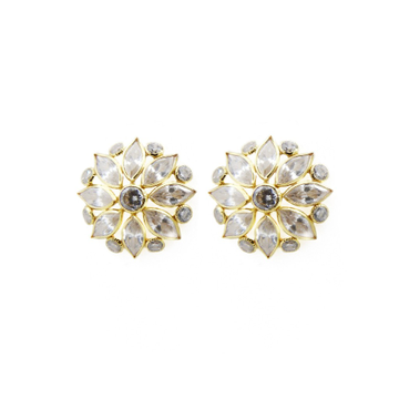 18K Gold White Marquise Stone Tops by