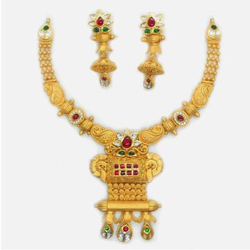 22KT Gold Antique Bridal Necklace Set RHJ-6033