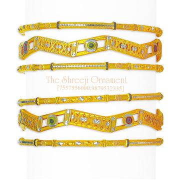 22KT Gold Zigzag Design 6 Pair Copper Kadali Set - 011