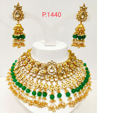 Green(emerald) bead & pearl gold plated wedding kundan choker necklace set 1250