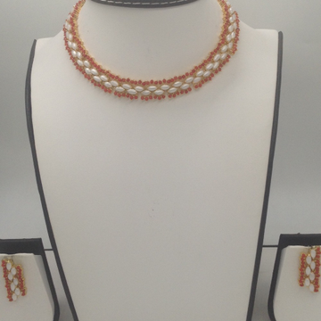 Corals And Freshwater White Marquise Pearls Choker Necklace Set JNC0056