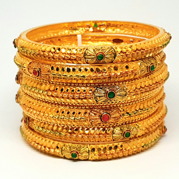 One gram Gold Forming 6 pieces kada bangles mga - bge0137