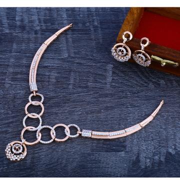 18Ct CZ Gorgeous Diamond  Rose Gold Necklace Set RN161