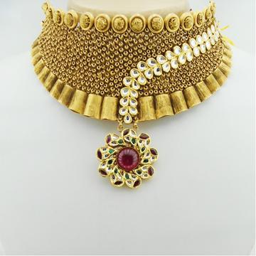 916 Gold Kundan Bridal Choker Set RHJ-3138