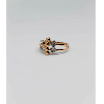 18c Rose Gold Three Layer Ladies Ring