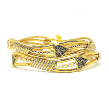 916 Gold Antique Machine Cut Bangle