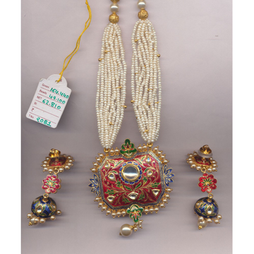 22K Gold Meenakari Necklace Set From Rajkot