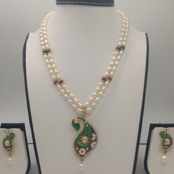 White CZ And Pearls Enamel Fusion PendentSet With 2Line OvalPearls Mala JPS0324