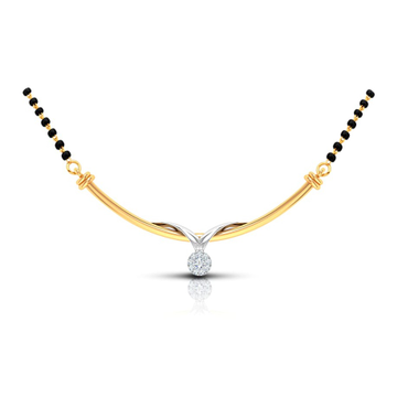 22kt, 916, leaf shaped pendant Gold and platinum mangalsutra JKM4321