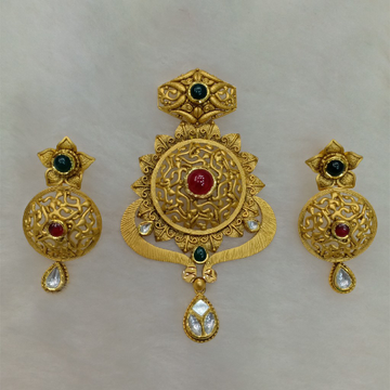 916 antique gold pendant set aps-016