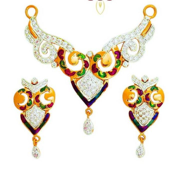916 Gold CZ Fancy Colorful Mangalsutra Pendant Set