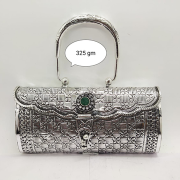 Pure silver clutch with handle in fine nakashi & g... by Puran Ornaments