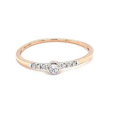 Classic Single Line Diamond Band Ring in 18K Rose...