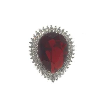 925 Sterling Silver Dark Pear Cut Pink Diamond Ring MGA - LRS0070