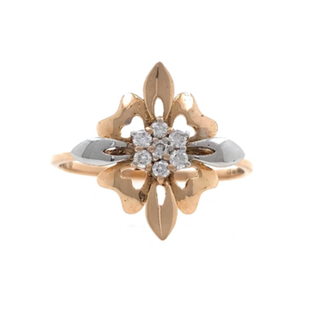 18kt / 750 rose gold Flower diamond Ladies Ring 9LR181