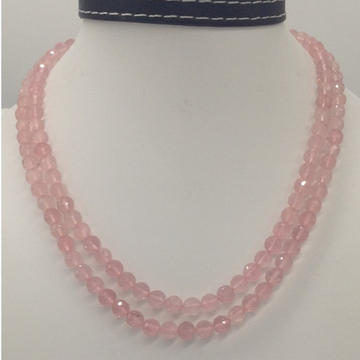 Natural pink rose quartz round faceted beeds 2 lay...