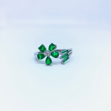 FANCY STERLING SILVER GREEN STONE RING by