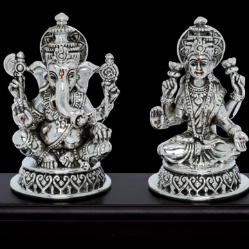 92.5 Sterling Silver Antique Ganesh Laxmi  Idol