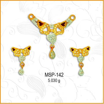 916 Gold Designer CZ Mangalsutra Pendant Set MSP-142
