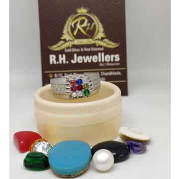 silver all stone gents ring RH-SR605