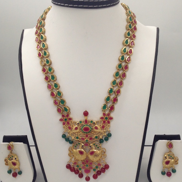 Green And Red CZ Stones Peacock Necklace Haar Set...