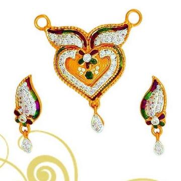 22Kt Gold Designer Mangalsutra Pendant Set