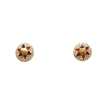 22K Gold Round Shape Meenakari Tops Earrings MGA - BTG0319