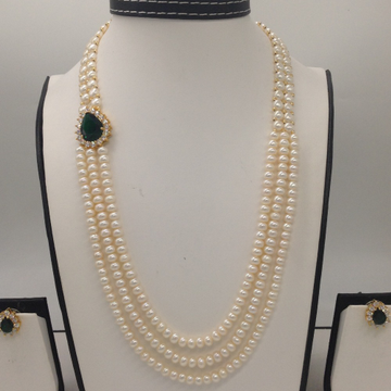 Green And White CZ BroachSet With 2Line ButtonJali And 3 Line Flat Pearls Mala JPS0271