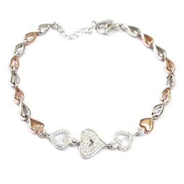 925 Sterling Silver Heart Shape Bracelet MGA - BRS0420